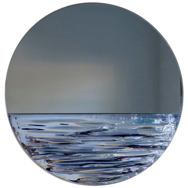 Orizon Rounded Hand Glazed Ceramic Mirror in Moonlight Blue For Sale