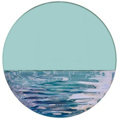Orizon Rounded Hand Glazed Ceramic Mirror in Vivid Blue