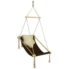 Customizable Ovis Leather Hanging Chair Brass, Dark Brown