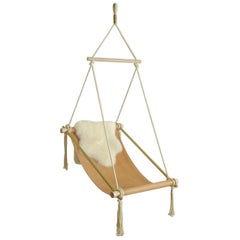 Customizable Ovis Leather Hanging Chair Brass, Veg Tan