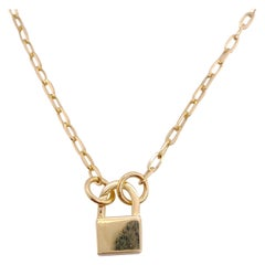 Customizable Paperclip Chain with Locket, Yellow Gold