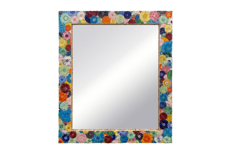 Customizable Pastel Blossom Glass Flower Mosaic Oval Mirror by Ercole Home In New Condition For Sale In New York, NY