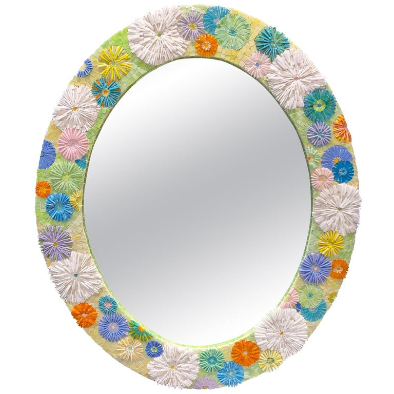 Customizable Pastel Blossom Glass Flower Mosaic Oval Mirror by Ercole Home For Sale