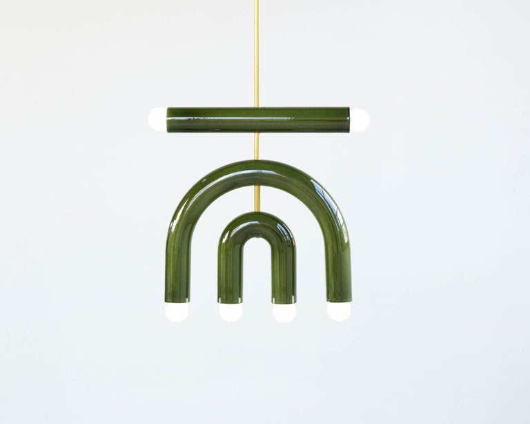 Pendant lamp / ceiling lamp / chandelier  Designer: Pani Jurek Model: TRN D1 Dimensions: H37.5 x 35 x 5 cm  Bulb (not included): E27/E26, compatible with US electric system  Materials: Hand glazed ceramic and brass Rod: brass, length made to