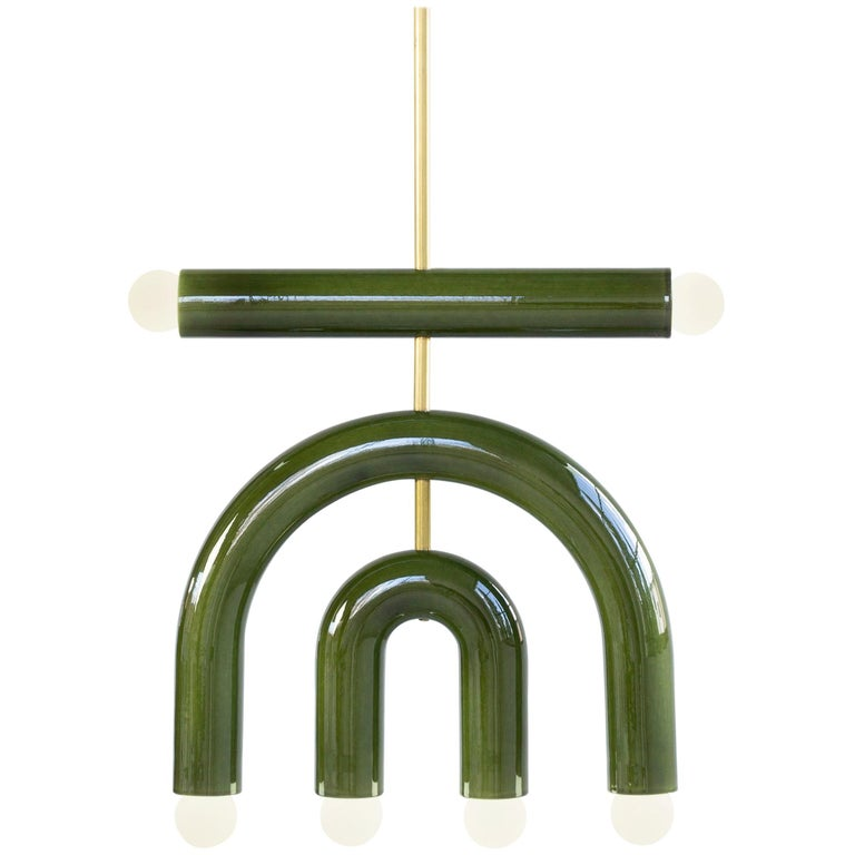 Customizable Pendant Lamp TRN D1, Ceramic and Brass '+ colors, + shapes' For Sale