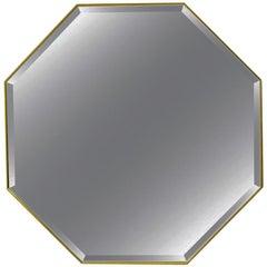 Customizable Pescetta Art Deco Style Octagonal Brass Frame Smoked Mirror