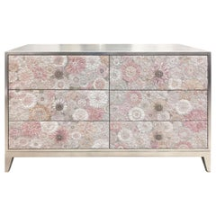 Customizable Pink Flower Blossom Glass Mosaic Silver Chest with by Ercole Home