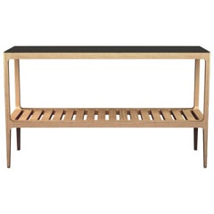 Customizable Radius Oak Console Table with Blackened Brass by Munson Furniture