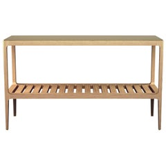 Customizable Radius Oak Console Table with Brass Top by Munson Furniture