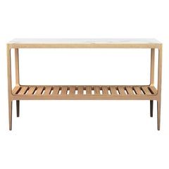 Customizable Radius Oak Console Table with Slatted Shelf by Munson Furniture