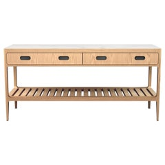 Customizable Radius Two-Drawer Console Table in Oak by Munson Furniture