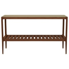 Customizable Radius Walnut Console Table with Brass Top by Munson Furniture
