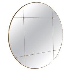 Customizable Rounded Brass Frame Window Pane Look Mirror Art Deco Style