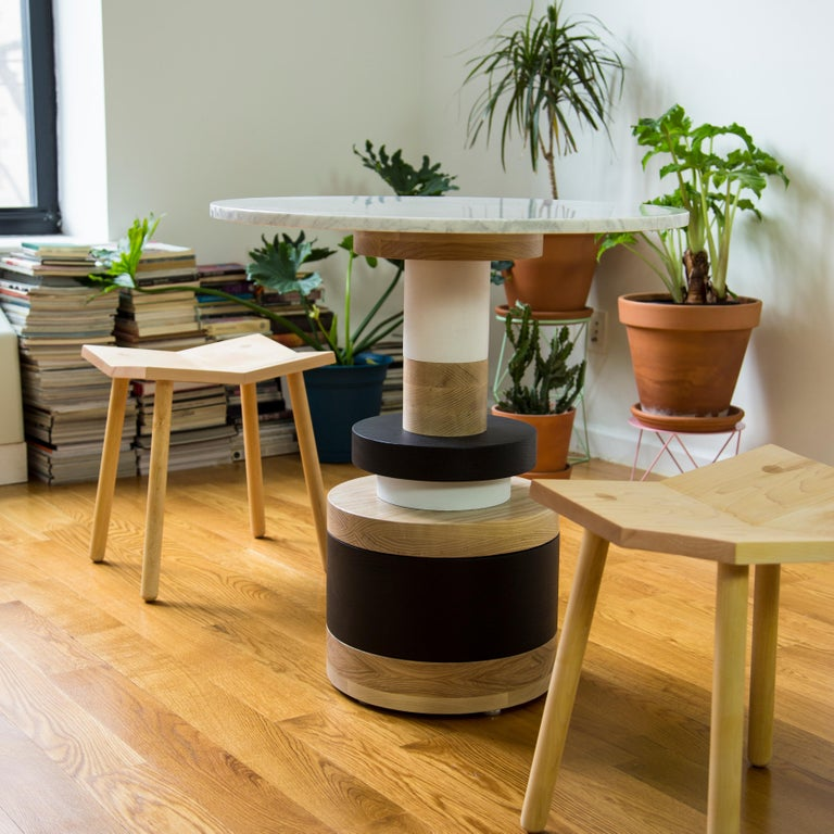 Customizable Sass Cafe Table from Souda, Small, White Marble Top In New Condition For Sale In Brooklyn, NY