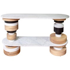 Customizable Sass Console Table from Souda, White Marble Top, Floor Model