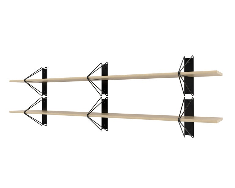 Modern Customizable Set of 2 Strut Shelves from Souda, Black and Maple, Made to Order For Sale