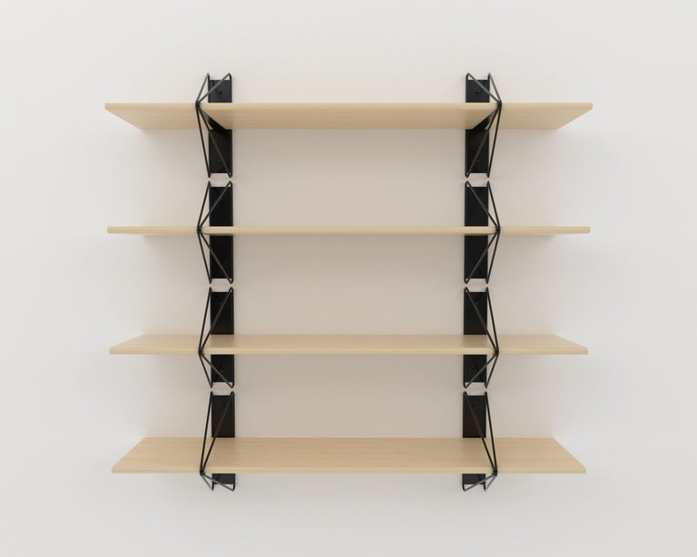 Painted Customizable Set of 2 Strut Shelves from Souda, Black, Made to Order For Sale