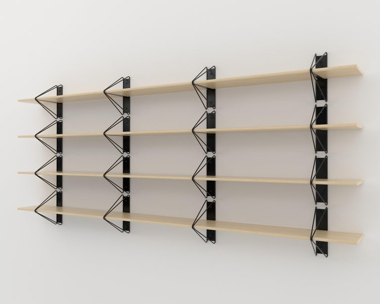 Wood Customizable Set of 2 Strut Shelves from Souda, Black, Made to Order For Sale
