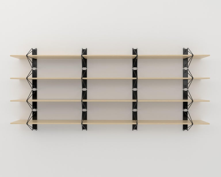 Modern Customizable Set of 4 Strut Shelves from Souda, Maple, Extra long, Made to Order For Sale