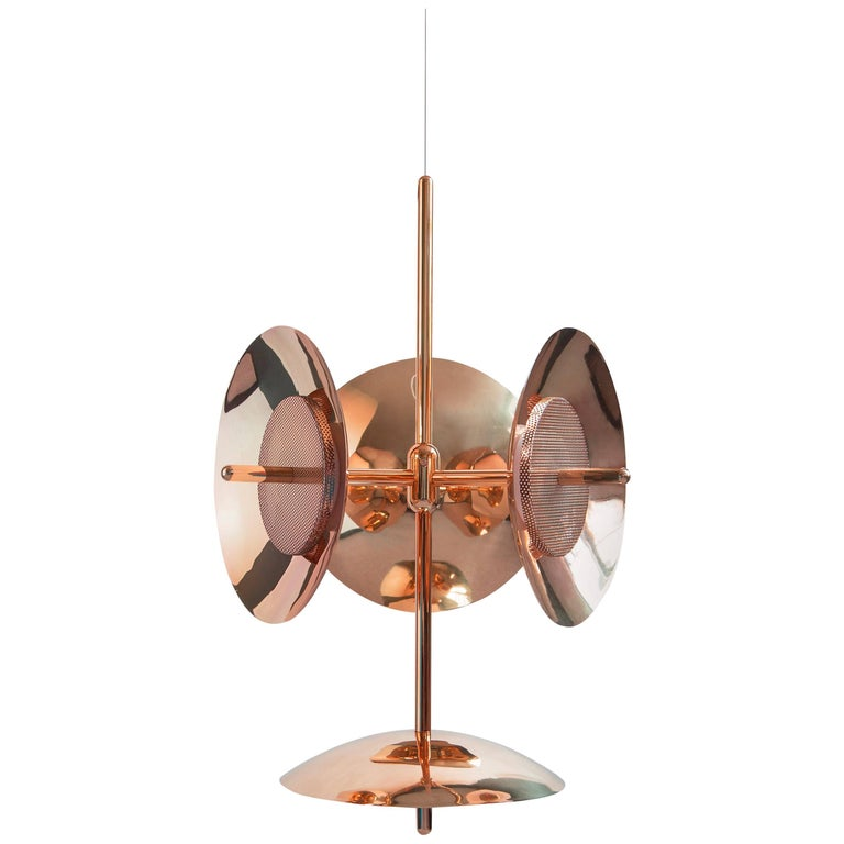 Customizable Signal Chandelier 3 and 1 in Copper, from Souda, Made to Order For Sale