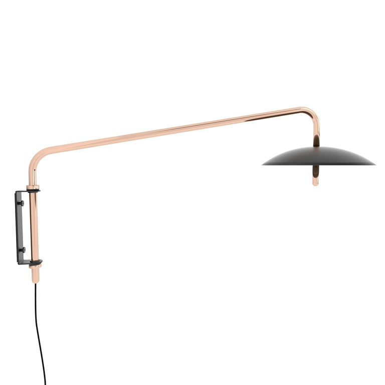Customizable Signal Swing Arm Sconce, Black x Copper, from Souda For Sale