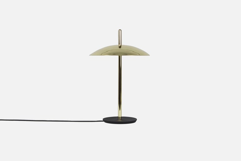 Machine-Made Customizable Signal Table Light from Souda, White x Brass, Made to Order For Sale