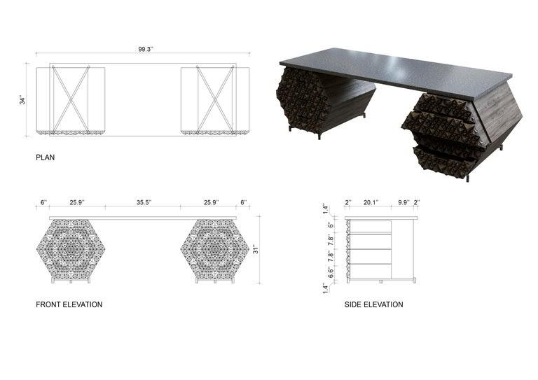 Indonesian Customizable Solid Teak Fractal Desk For Sale
