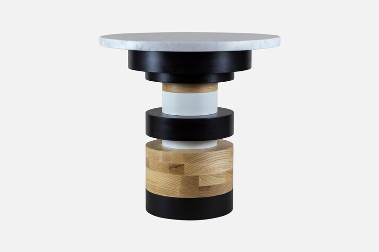 American Customizable Tall Sass Side Table from Souda, Medium Marble Top, Made to Order For Sale