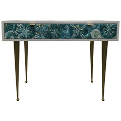 Customizable Turquoise Blossom Glass Mosaic Desk with Metal Base by Ercole Home