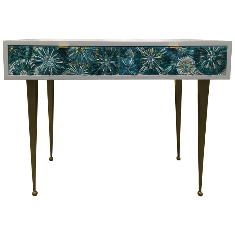 Customizable Turquoise Blossom Glass Mosaic Desk with Metal Base by Ercole Home For Sale