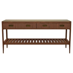 Customizable Two-Drawer Console Table in Walnut and Brass by Munson Furniture