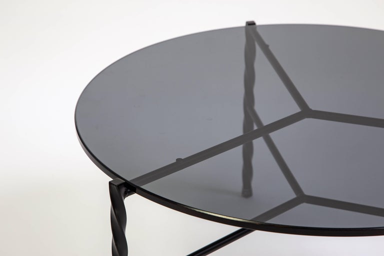 Modern Customizable Von Iron Coffee Table from Souda, Black & Glass, Made to Order For Sale
