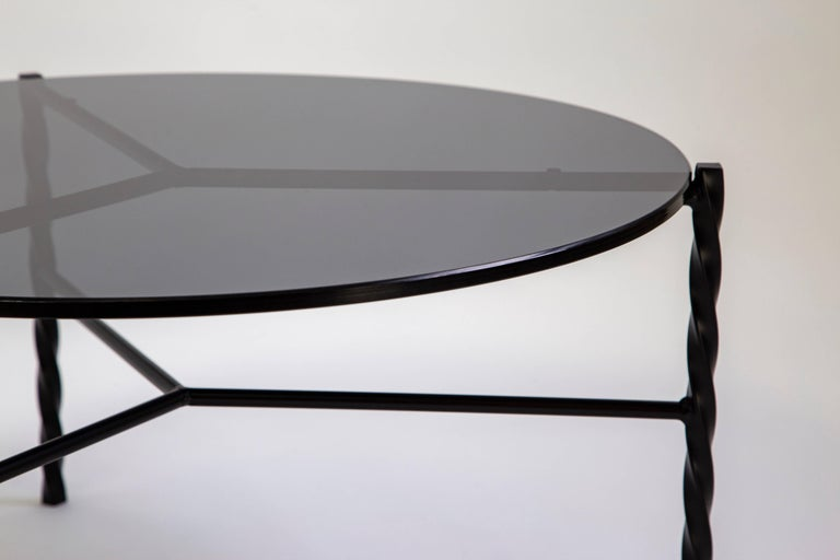 American Customizable Von Iron Coffee Table from Souda, Black & Glass, Made to Order For Sale