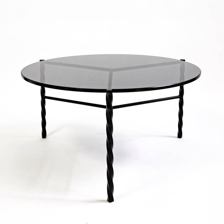 Powder-Coated Customizable Von Iron Coffee Table from Souda, Black & Glass, Made to Order For Sale