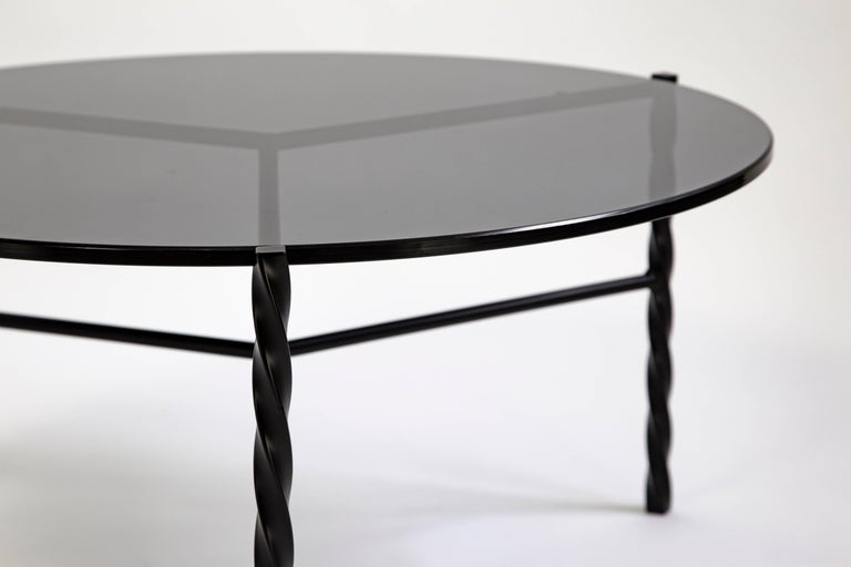 Customizable Von Iron Coffee Table from Souda, Black & Glass, Made to Order In New Condition For Sale In Brooklyn, NY