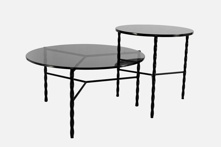 Metal Customizable Von Iron Coffee Table from Souda, Black & Glass, Made to Order For Sale