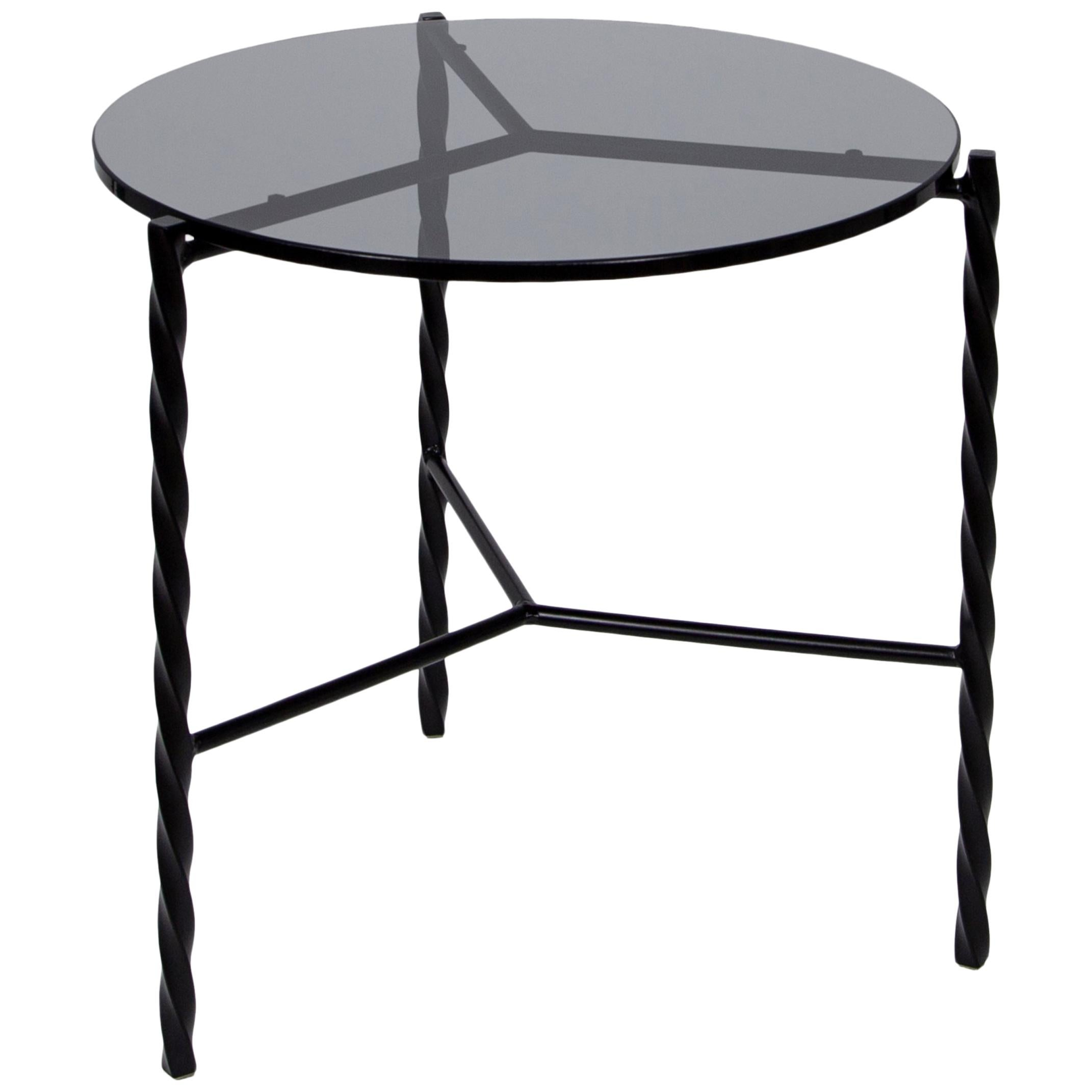 Customizable Von Iron Side Table from Souda, Black Glass, Made to Order
