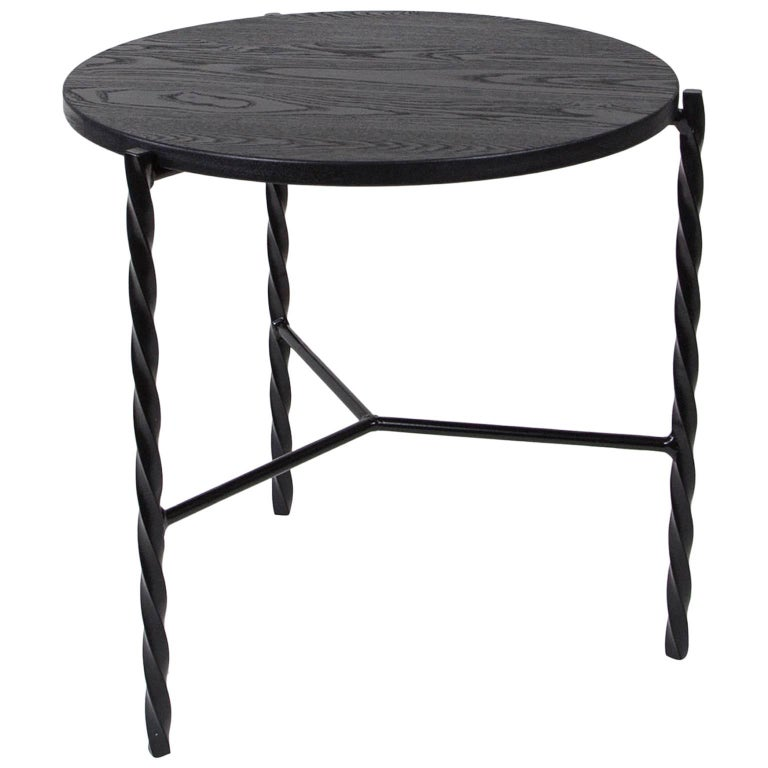 Modern Customizable Von Iron Side Table from Souda, Nero Marquina, Floor Model For Sale