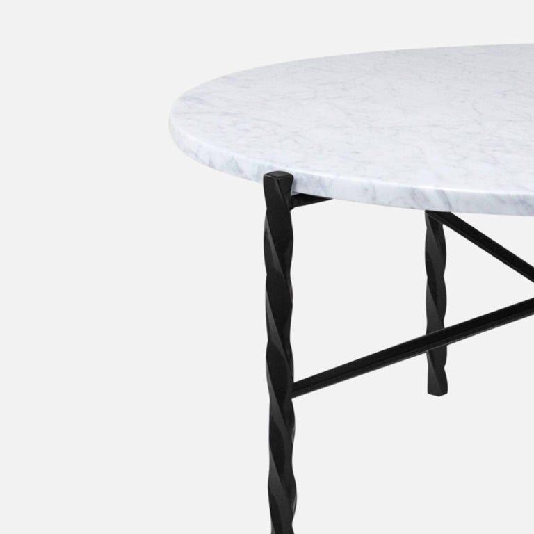 American Customizable Von Iron Side Table from Souda, Nero Marquina, Floor Model For Sale