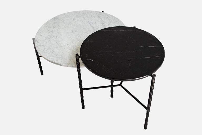 Carrara Marble Customizable Von Iron Side Table from Souda, Nero Marquina, Floor Model For Sale