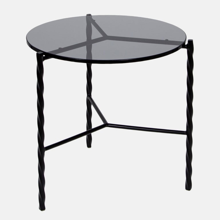 Customizable Von Iron Side Table from Souda, Nero Marquina, Floor Model For Sale 1