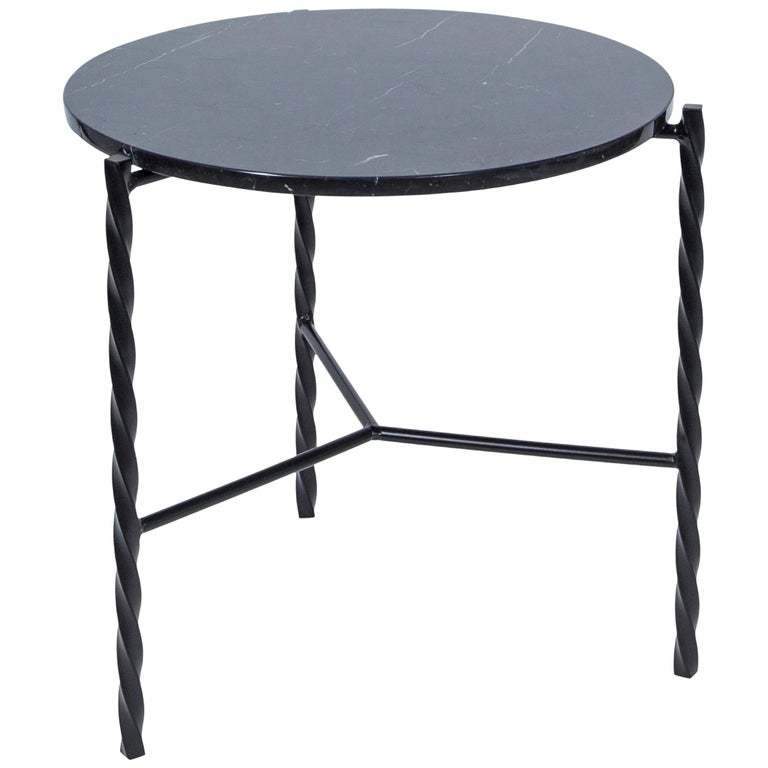 Customizable Von Iron Side Table from Souda, Nero Marquina, Made to Order For Sale