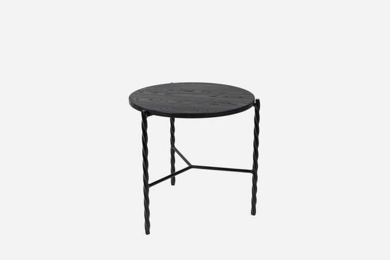 American Customizable Von Iron Side Table from Souda, White w/ Natural Top, Made to Order For Sale