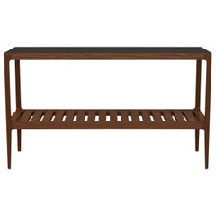 Customizable Walnut Console Table with Blackened Brass Top by Munson Furniture