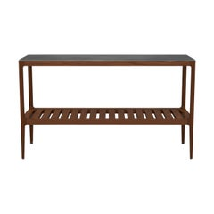 Customizable Walnut Console Table with Brass Patina Top by Munson Furniture