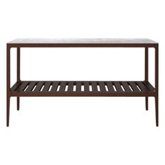 Customizable Walnut Console Table with Carrara Top by Munson Furniture