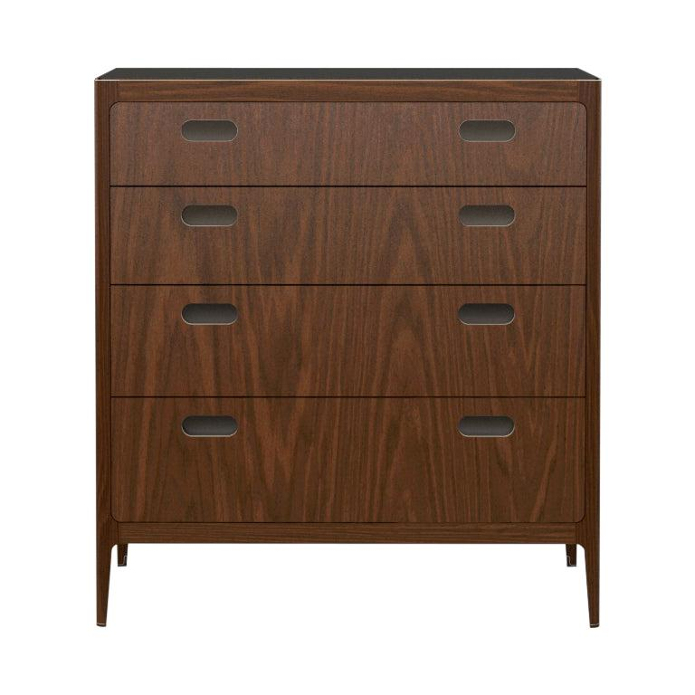 Customizable Walnut Dresser with Blackened Brass Top from Munson Furniture For Sale