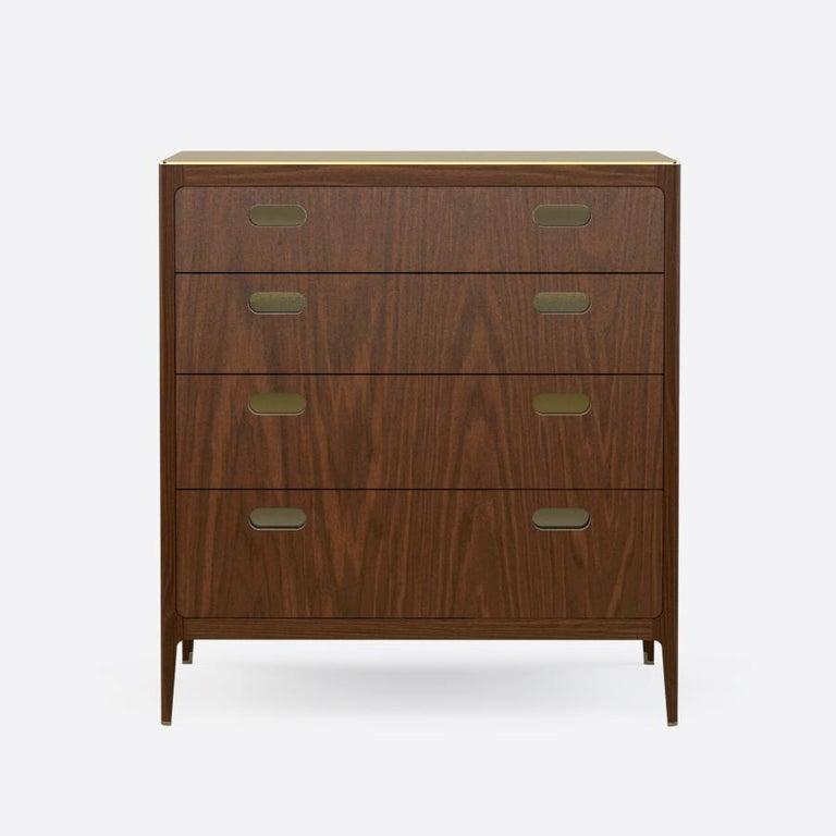 Mid-Century Modern Customizable Walnut Dresser with Silver Oxide Brass Top from Munson Furniture