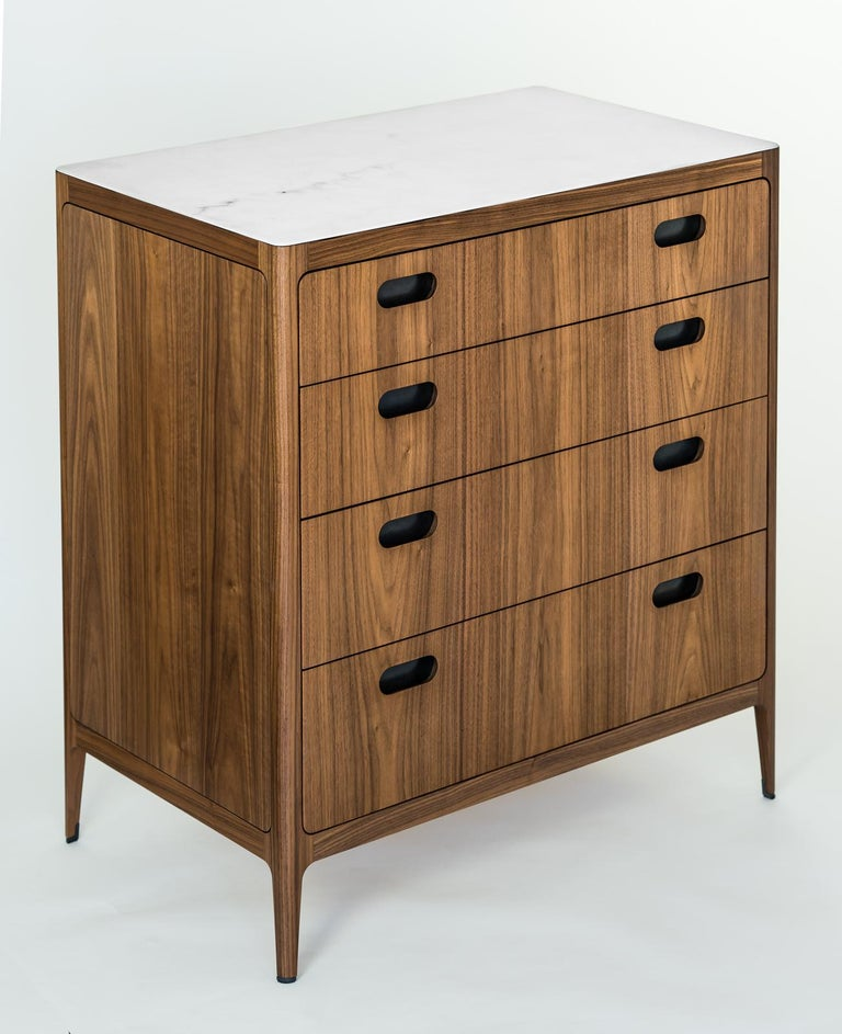 Customizable Walnut Dresser with Silver Oxide Brass Top from Munson Furniture In New Condition In Oakland, CA