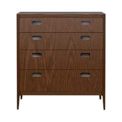 Customizable Walnut Dresser with Silver Oxide Brass Top from Munson Furniture